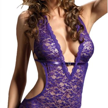 Atomic Purple Perfection Lace Mesh Teddy