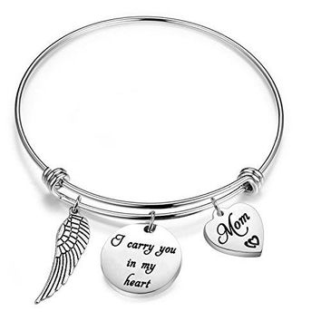 Gzrlyf Memorial Charm Bracelet Loss Memorial Gift I Carry You In My Heart Jewelry Sympathy Gift Remembrance Mom Dad Gift