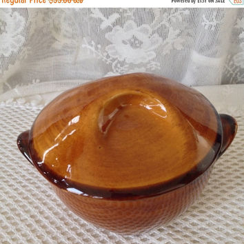 French Pottery Bowl, St Clement France, Brown Majolica, Pinched Lid, Dog Eared Handles, Vintage French Faience Sugar Pot, Soup Bowl