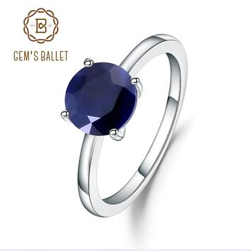 Gem's Ballet 2.57Ct Natural Blue Sapphire 925 Sterling Silver Gemstone Solitaire Wedding Engagement Rings For Women Fine Jewelry