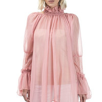 SHEER MOCK NECK RUFFLED TRUMPET SLEEVE DRESS 4119DW