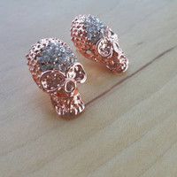 Rose gold skull stud earrings.rhinestone skulls.stud earrings