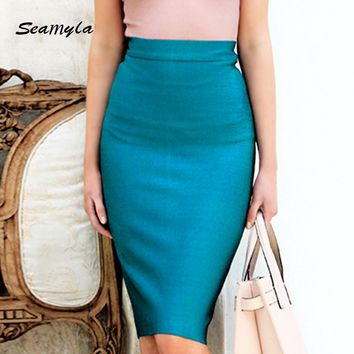 2017 New Fashion Pencil Skirts Women Sexy Winter Bodycon Bandage Skirt Rayon Stretch Knee Length Celebrity Party Midi Skirts