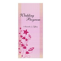 Wedding Program | Pink & Red Flower Butterfly Rack Cards