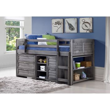 Donco Kids Grey Louver Low Loft Bed with Chests, Shelves, and Bookcase (Twin)- Loft, 3 Dr Chest, 2 Dr Chest & Shelves, Bookcase