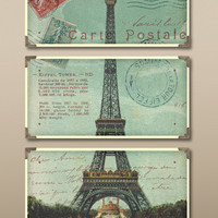 Eiffel Tower Carte Postale Art Set/3