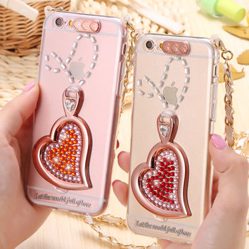 I6 6S Bling Rhinestone Slim TPU Back Case for Iphone 6 6s/ iphone6 6s plus Luxury Clear Soft Sillicon Kickstand Woman Girl Cover
