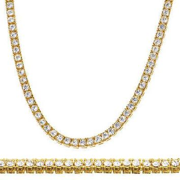 """Jewelry Kay style Men's Fashion CZ Iced Out 4 mm 26"""" 14K Gold Plated Stone Tennis Chain Necklace"""