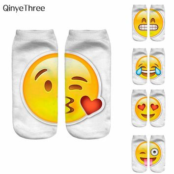 Women New 3D Emoji Socks Men Fashion Single Side Printing Cotton Socks Unisex Socks Pattern Meias Feminina Funny Low Ankle Socks