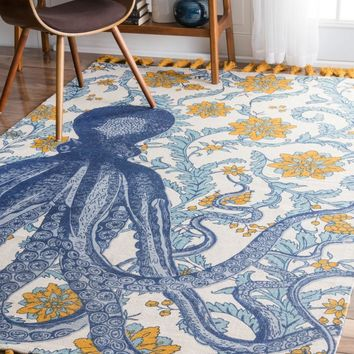 nuLOOM Thomas Paul Flatweave Cotton Octopus Area Rug