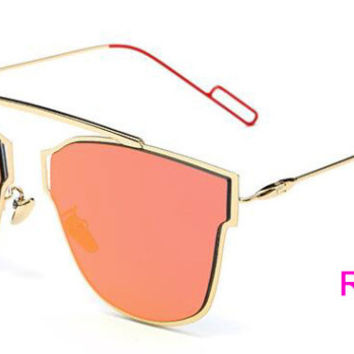 Flat Panel Lens Sunglasses  Red