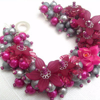 Pearl Beaded Bracelet With Flowers  Summer Rose by KIMMSMITH