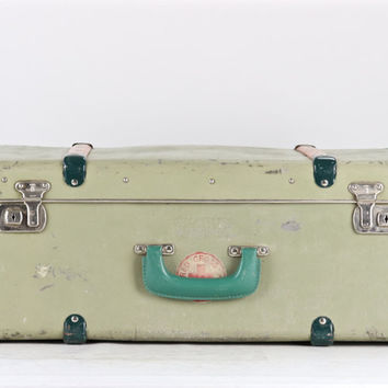 American Red Cross Suitcase, Vintage Suitcase, Red Cross Suitcase, 1950's Suitcase, Mid Century Suitcase, Green American Red Cross Suitcase
