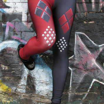 NEW! TAFI Harley Arkham Knight Leggings - Batman Dr Quinn Costume or Yoga Pants 2015 Black Milk Galaxy DC Super Hero CosPlay Print