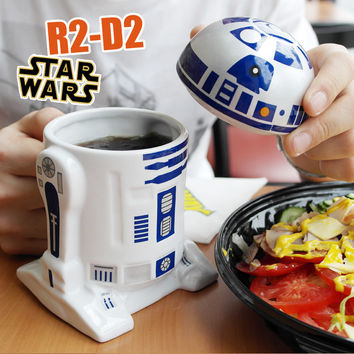 Creative Star Wars R2-D2 Robot Ceramic Mug Personality Coffee Cup Fun Porcelain Tea Cup Zakka Tumbler for Children Friend Gift