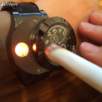 Men's Lighter Watch Military USB Charging Quartz with Windproof Flameless Lighter