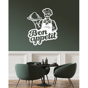 Vinyl Wall Decal Chef Bon Appetit Restaurant Cafe Kitchen Dining Room Stickers Mural (ig6026)