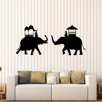 Vinyl Wall Decal Indian Elephants India Hindu Stickers Mural Unique Gift (204ig)