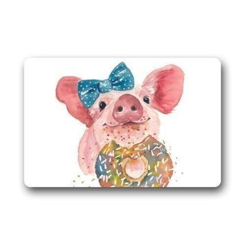 Autumn Fall welcome door mat doormat Funny Bow Pig Eat Donut Art s Floor Mat  Rug Indoor/Outs Welcome  23.6x15.7 inche AT_76_7