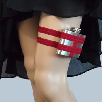 Adjustable Flask Garter 4oz Flask - Deep Red - fun gift for 21st birthday - great gift for fun sister or best friend