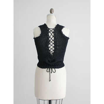 black corset top / black knit top / black crochet top