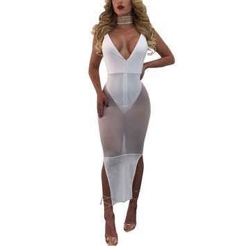 Sexy Club Party Patchwork White Mesh Dress 2017 Summer Backless Strap Bodycon Women Vestidos Beach See Through Black Dresses