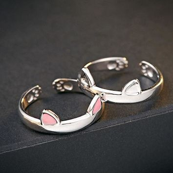 DCCKHY9 Cute cat head with two ears open ring cat claw inside and frosted ears  slightly adjustable Diameter 17mm
