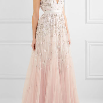 Needle & Thread - Embellished embroidered tulle gown