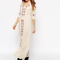 Glamorous Petite Folk Maxi Dress With Embroidered Trims