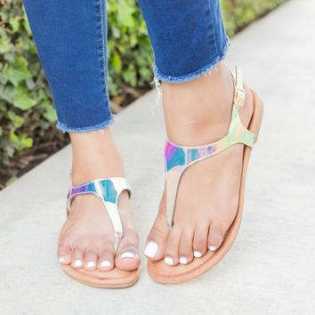 Holographic Thong-Toed Sandals