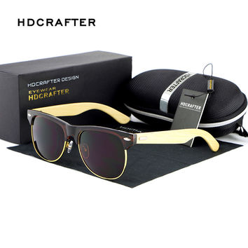 Fashionable Wood Sunglasses Men Reflective Sports Sun Glasses Outdoors Half frame Eyewear Gafas De Sol Oculos De Sol Feminino