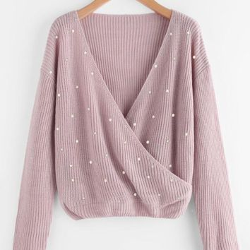 Pink Surplice Wrap Jumper With Pearl Beading