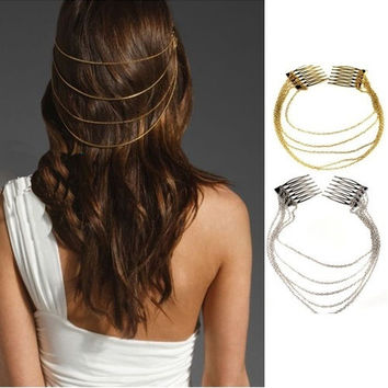 1pc Fashion Punk Rock 2 Combs Tassels Fringes Chains Hair Cuff Pin Head Band Hot A2274 = 1651171588
