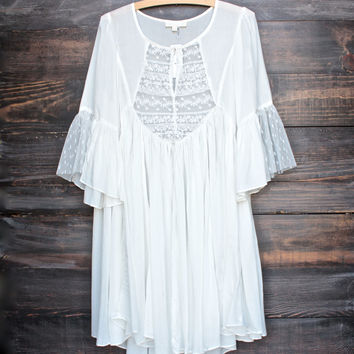 dreamy lace peasant dress - ivory