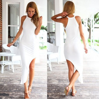 Stylish Lady Women Sexy O-Neck Sundress Irregular Hem Bodycon Club Cocktail Slim Dress F_F = 1904687108