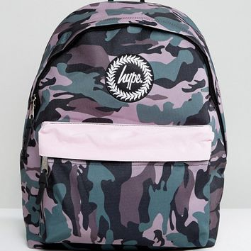 Hype Camo Print Backpack with Contrast Pocket at asos.com