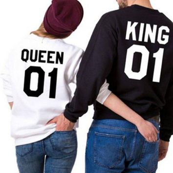 PEAPJ1A [QUEEN KING 01] Sweater English alphabet queen queen collar couple sweater