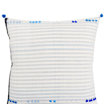 Asmaani Pillow in Blue Tassel Stripe, 24""