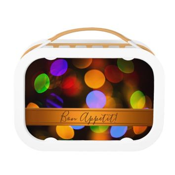 Multicolored Christmas lights. Add text or name. Lunch Box