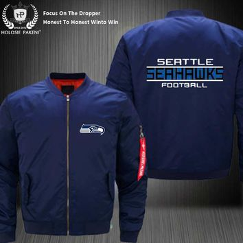 Dropshipping USA Size MA-1 Jacket Football Team Seattle Seahawke Flight Jacket Costume Design Printed Bomber Jacket made Men