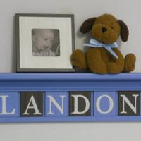 "Nursery Decor Sign - 24"" Light Blue Shelf - 6 Wood Wall Letters Painted Baby Blue and Brown LANDON"