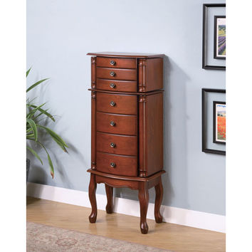Coaster Furniture 900125 Warm Brown Jewelry Armoire with Antiqued Hardware