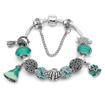 New Green Princess Mermaid Charm Bracelet for Women Fit European Pan Bracelet & Bangles Jewelry DIY Making Accessories