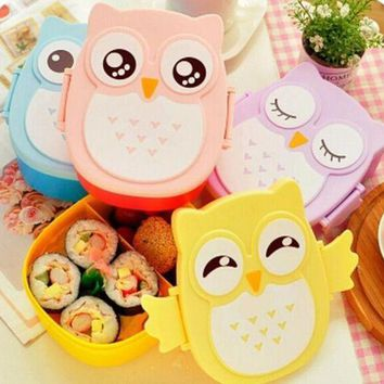 DCCKWJ7 Top qualitity kawaii Candy Color Owl Lunchbox Microwave Oven Bento Container Case Dinnerware for kid food box