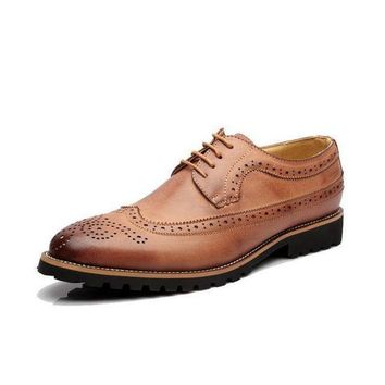 ONETOW genuine leather oxford shoes for Men Dress business shoes flats cut outs brogues leather platform vintage men flat shoes 1