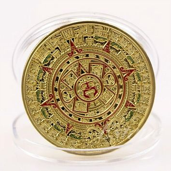 Art Collection Gift Gold Plated Mayan Aztec Prophecy Calendar Commemorative Coin