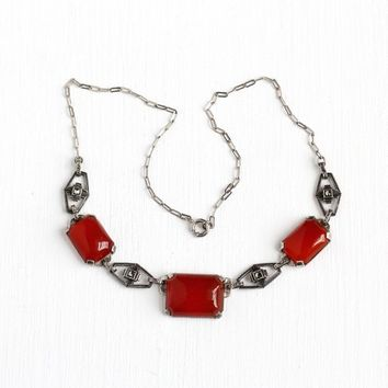 Carnelian Marcasite Necklace - Vintage Art Deco Sterling Silver Choker - 1930s Sparkly Red Gemstone Geometric Flapper Linked Jewelry