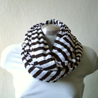Striped Infinity scarf, cowl, tube scarf in black and white jersey knit, EXTRA WIDE, chunky and cozy.READY To SHIp.