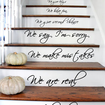 In this House We Are Family We Love Words Text Quote Stairs or Wall Sticker Vinyl Decal for Home Living, Dining Room. Art DIY Decor Mural!