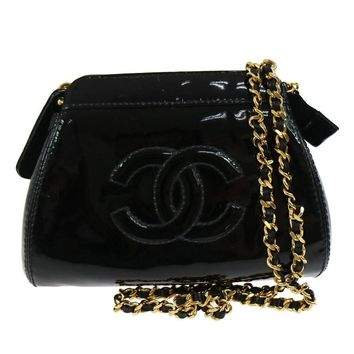 Chanel Black Patent Leather Small Evening Party Crossbody Shoulder Bag in Box